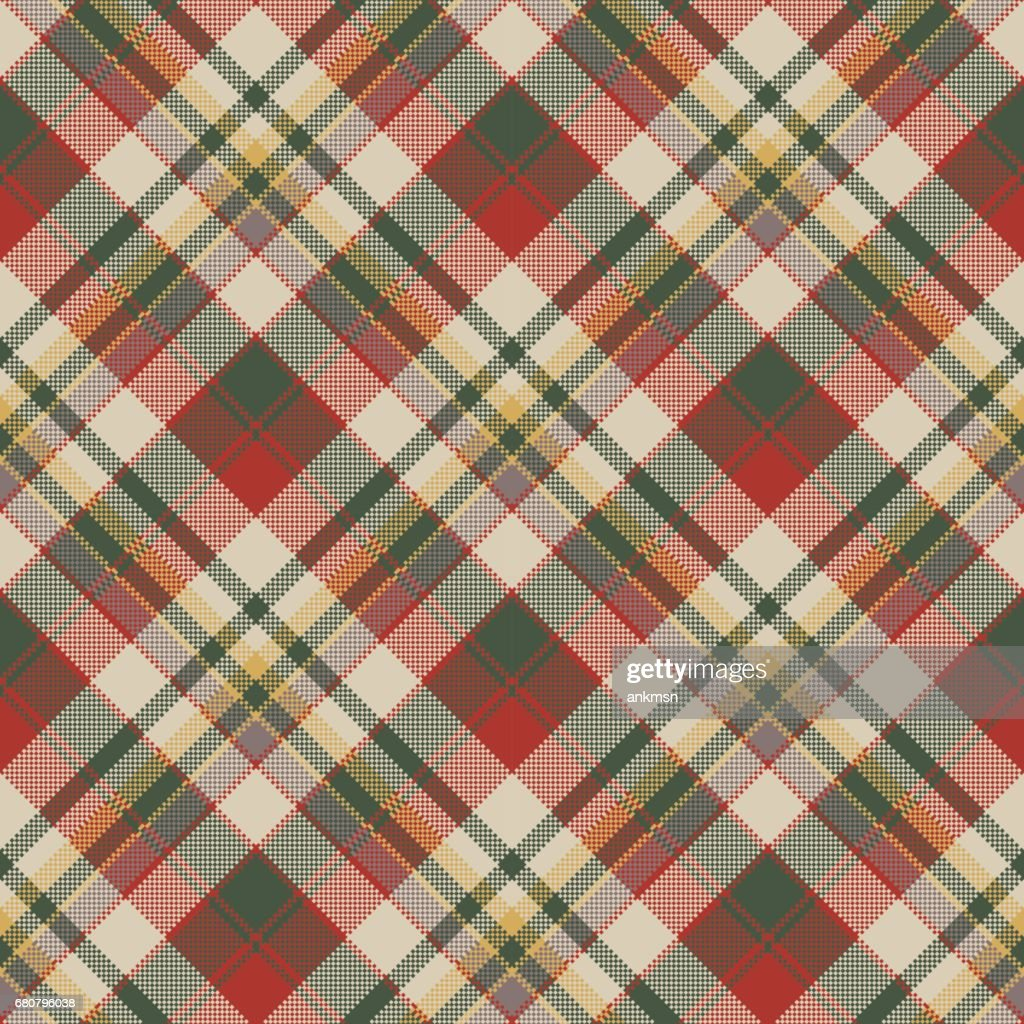 Burlap tartan fabric texture check seamless pattern