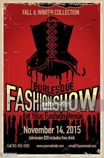 burlesque fashion show poster design template - en búsqueda stock illustrations