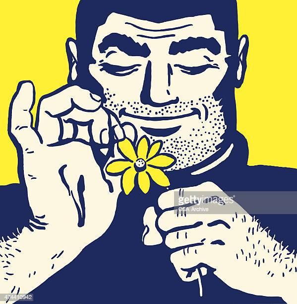 burly man picking petals off flower - masculinity stock illustrations