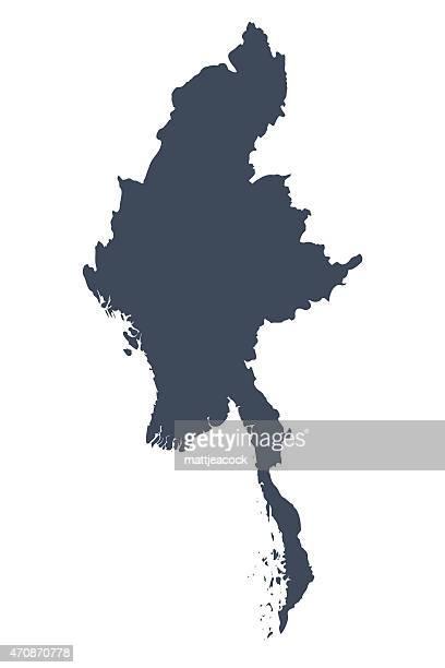 burma country map - myanmar stock illustrations