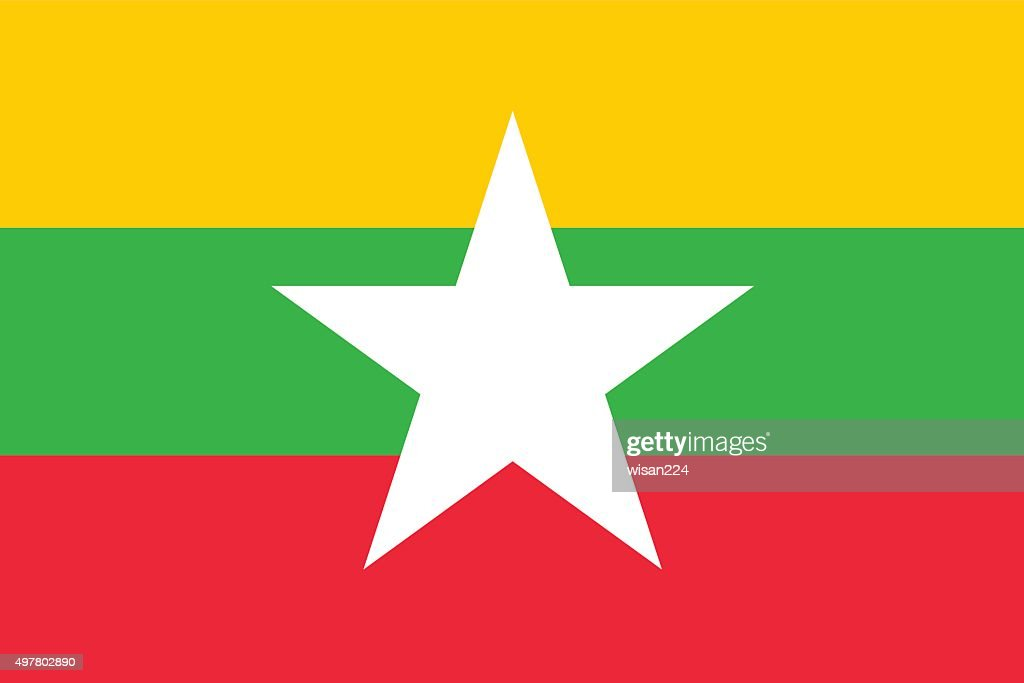 Burma flag isolated vector