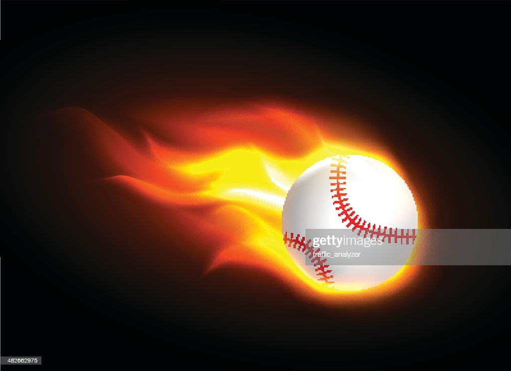 Burning baseball : stock illustration