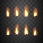 Burning candle flame animation vector frames