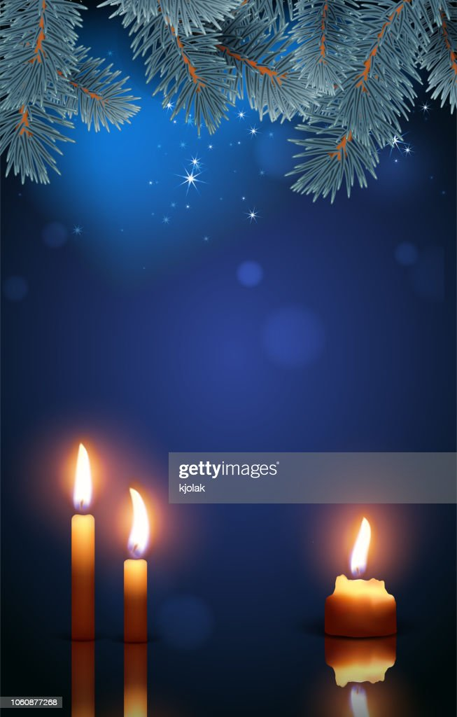Burning candles on the background of the night starry sky and fir branches. Highly realistic illustration.