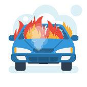 Burning car icon. Car on fire