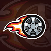 Burning car wheel icon,  design. Cartoon wheel in fire. Emblem for car repair shop, motor sport team, drift racing. Vector illustration