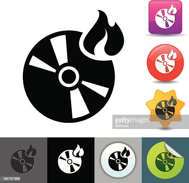 burning cd icon | solicosi series - dvd stock illustrations, clip art, cartoons, & icons