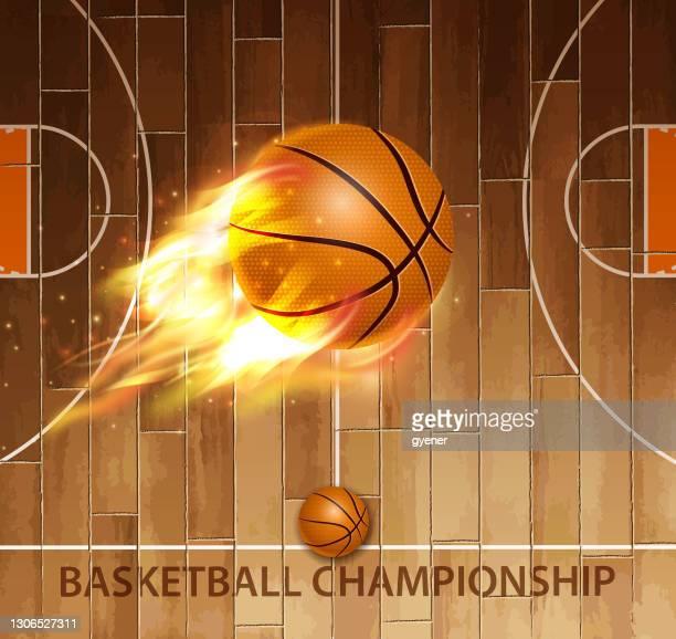 burning championship - basketball competition stock illustrations