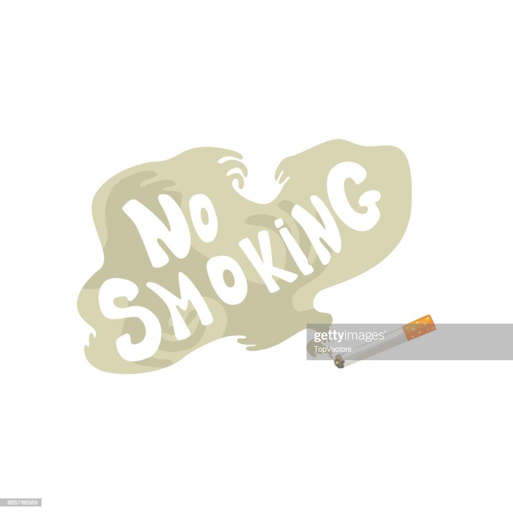 Burning cigarette with smoke and No smoking inscription, bad habit, nicotine addiction cartoon vector Illustration
