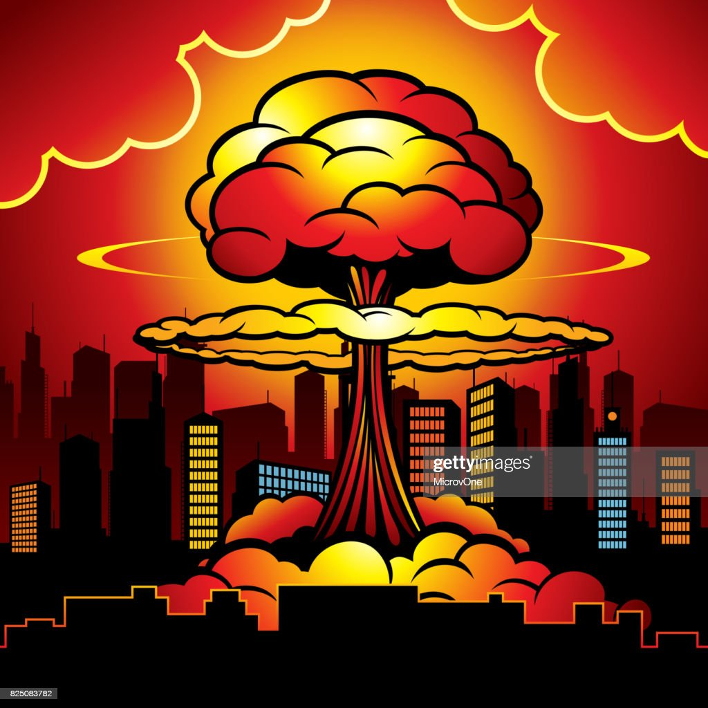 Burning city with nuclear explosion of atomic bomb. Cartoon vector illustration