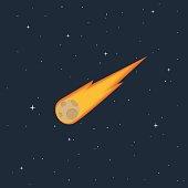burning comet flying in space