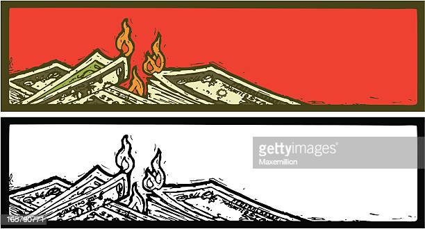 burning dollars banner - money down the drain stock illustrations, clip art, cartoons, & icons