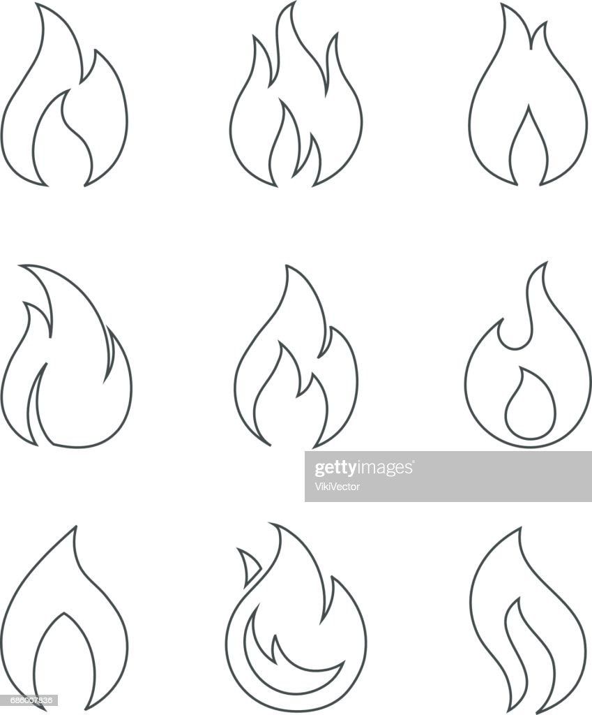 Burning fire outline icons on white background