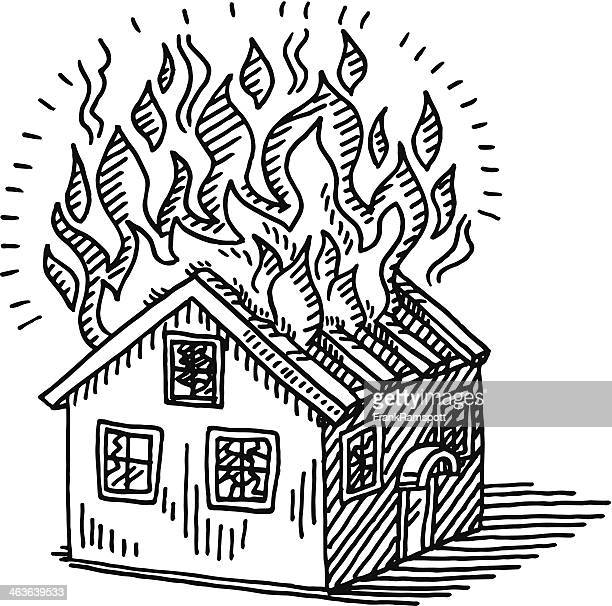 Burning House Disaster Drawing