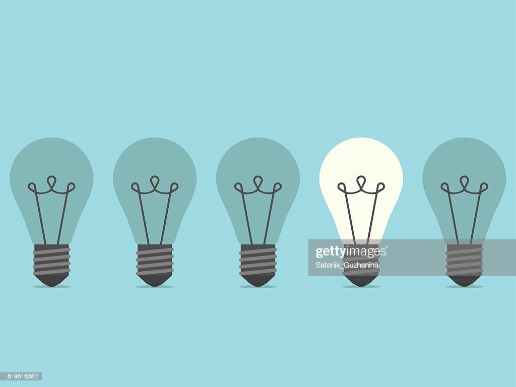 Burning lightbulb flat design vector art getty images