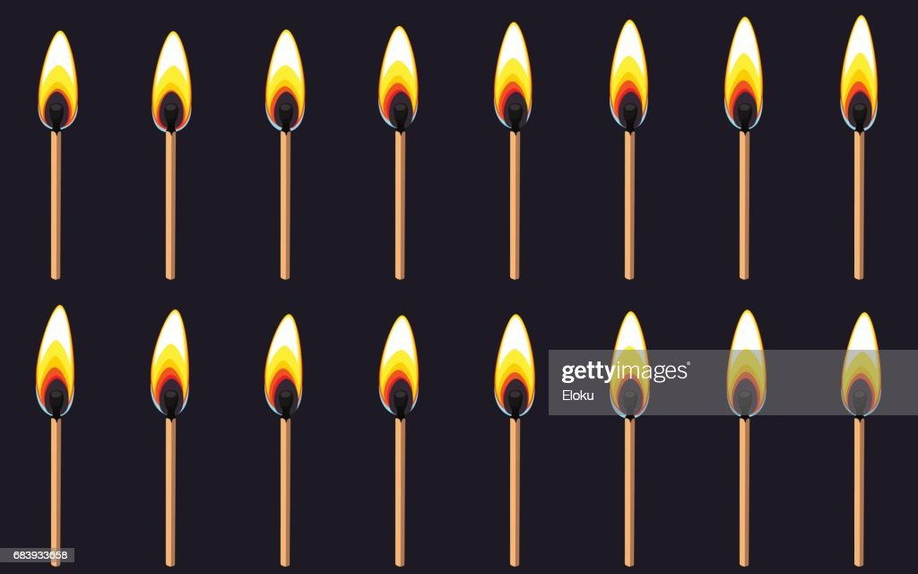 Burning Match Animation Sprite On Dark Background Vector Art