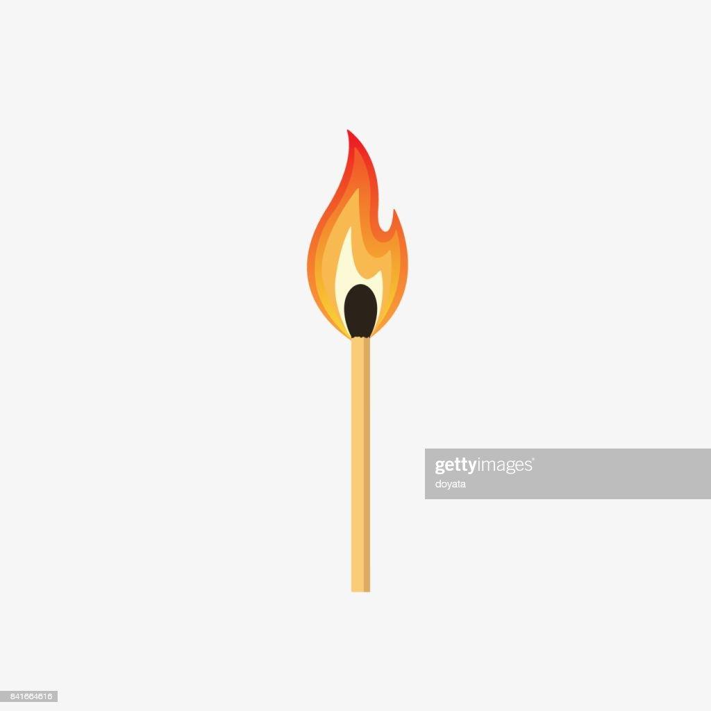 Burning Match Stick Illustration