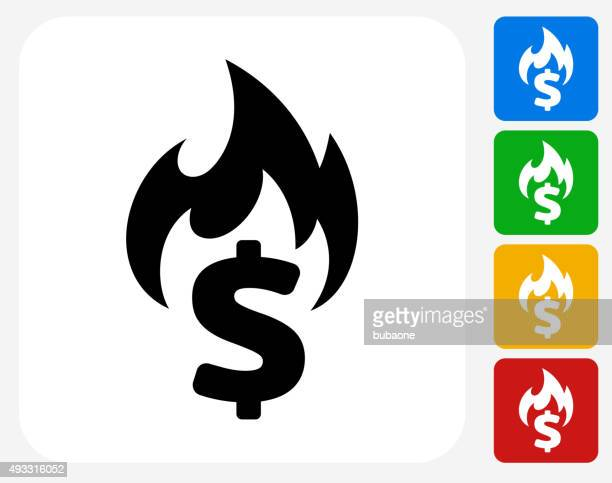 Burning Money Icon Flat Graphic Design