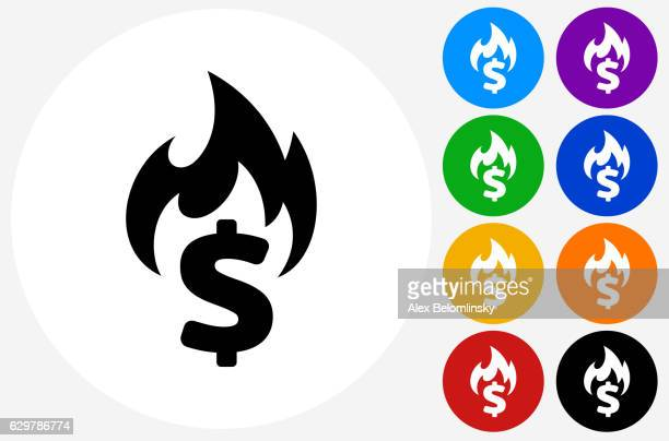Burning Money Icon on Flat Color Circle Buttons