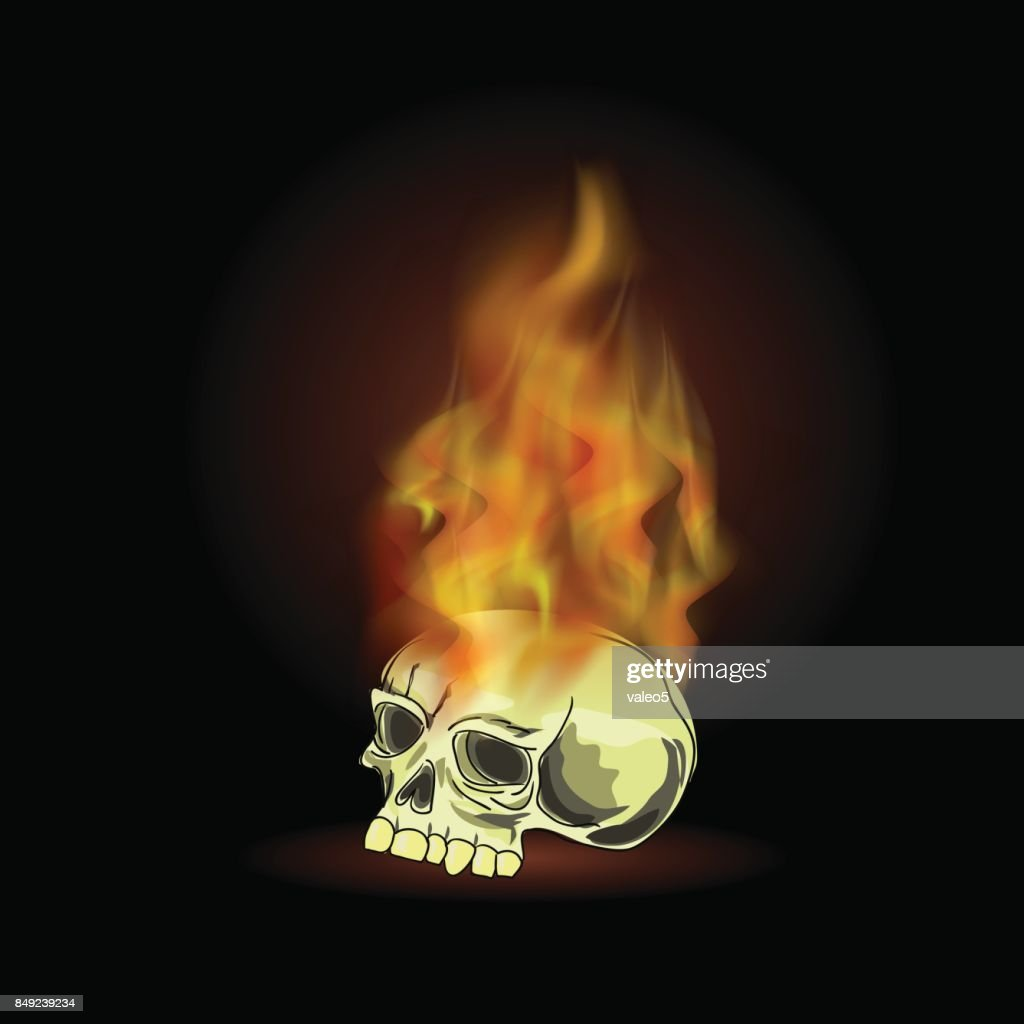 Burning Old Human Skull with Fire Flame