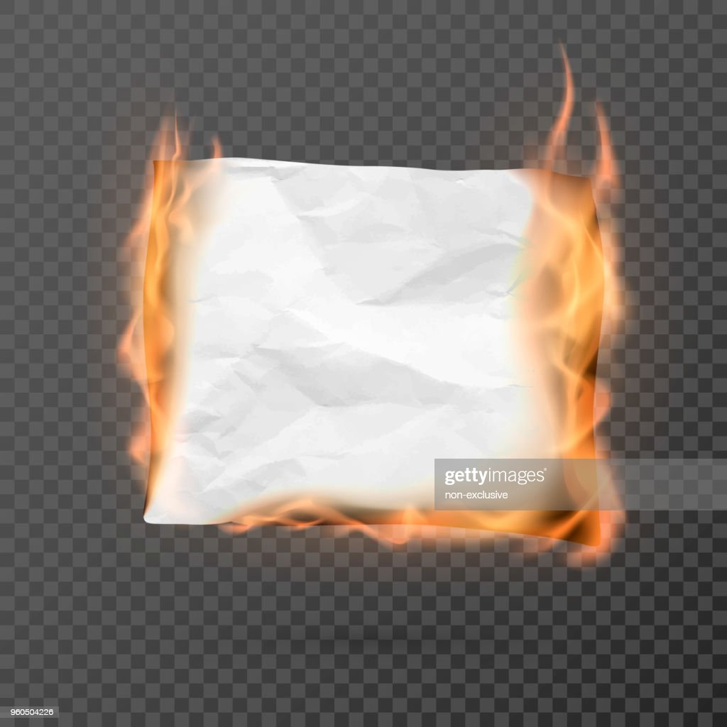 Burning piece of crumpled paper with copy space. crumpled paper blank. Creased paper texture in fire. Vector illustration isolated on transparent background