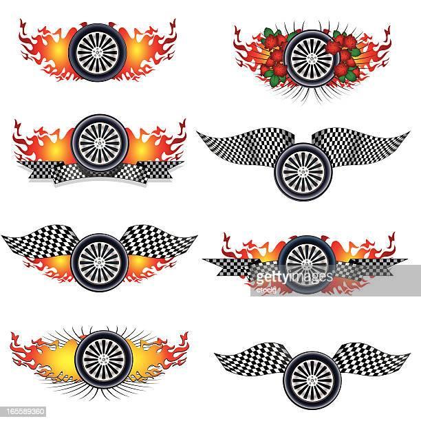 burning racing wheels - indianapolis stock illustrations, clip art, cartoons, & icons