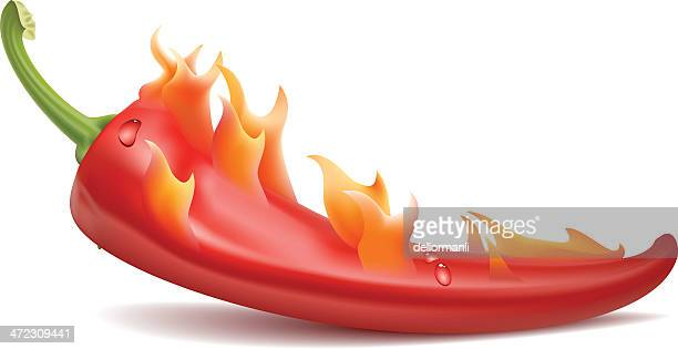burning red hot pepper - red chili pepper stock illustrations, clip art, cartoons, & icons