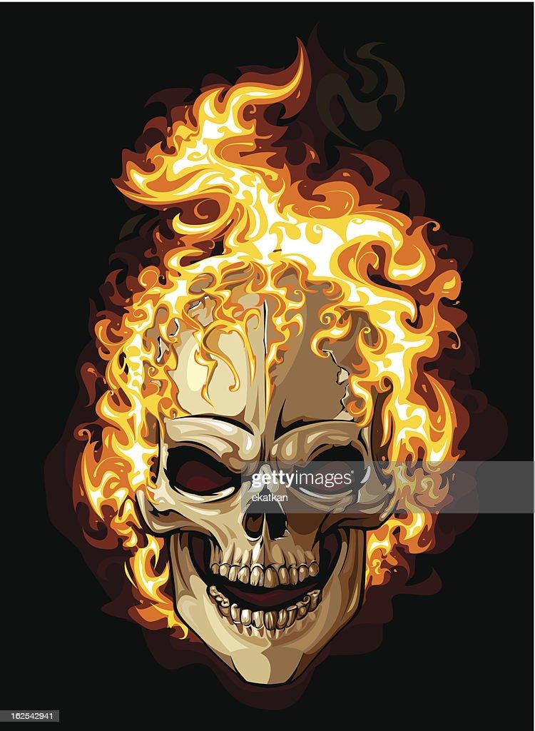 Burning skull isolated on black