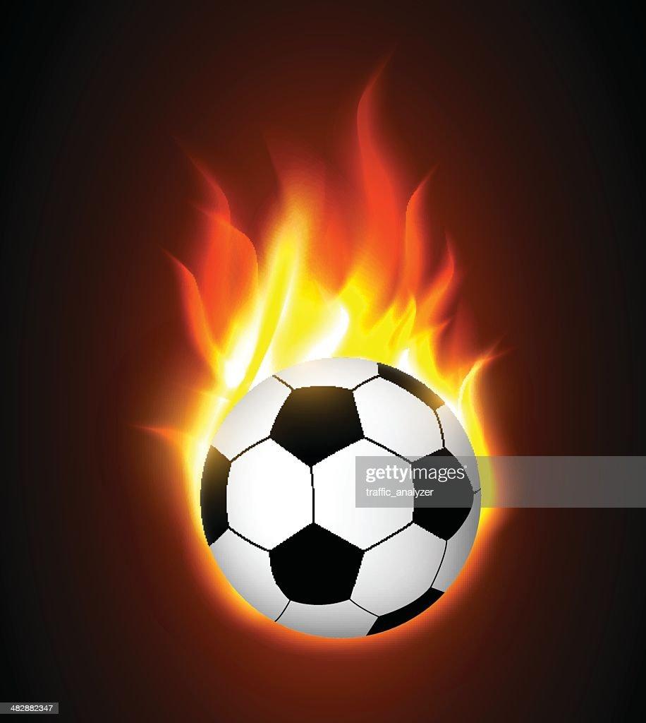 Burning soccer ball : stock illustration