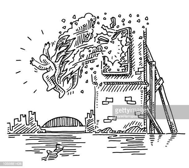 Brennender Stuntman springt aus Fenster Zeichnung