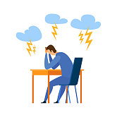 Burnout, Life Problem Flat Vector Illustration