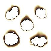 Burnt scorched paper hole vector illustration on transparent background
