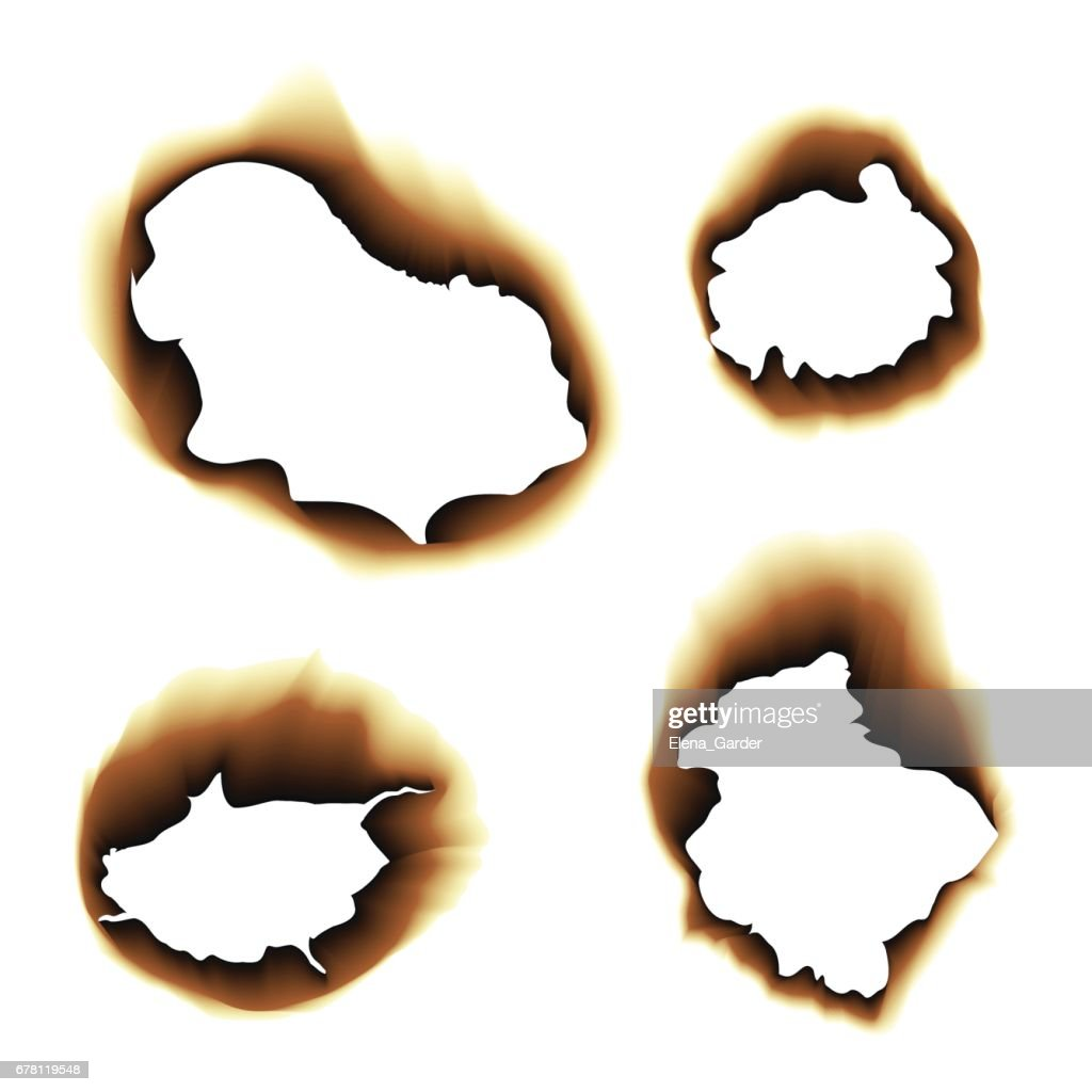 Burnt scorched paper hole vector illustration on white background