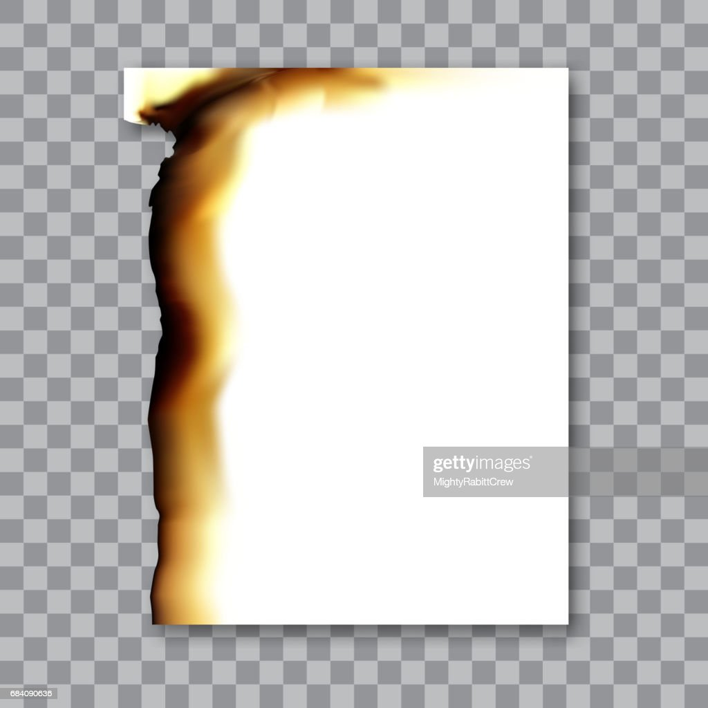 Burnt sheet of paper with ash. Damage edge and destroyed sheet. On transparent background vector illustration.