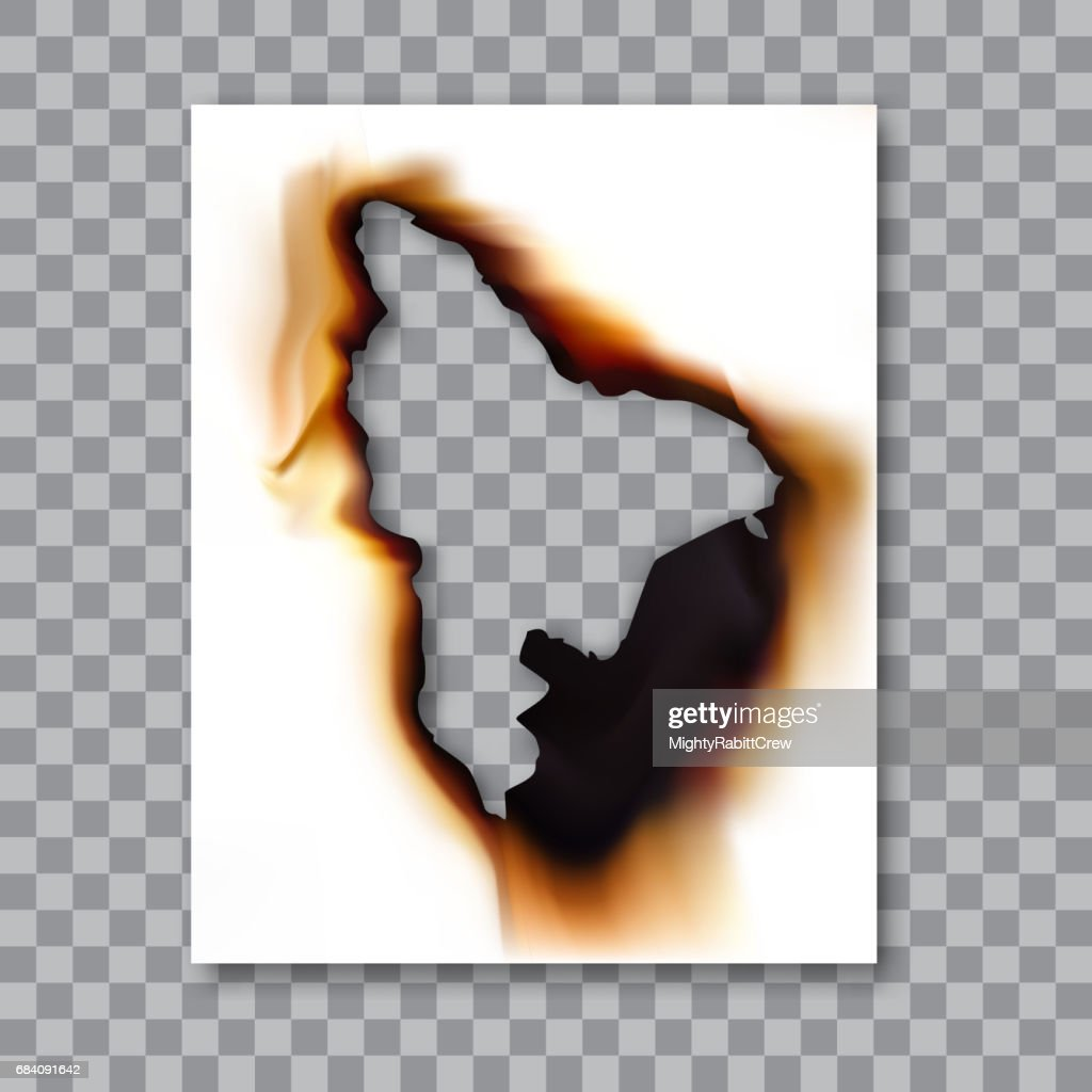 Burnt sheet of paper with ash. Damage edge and destroyed sheet. On transparent background vector illustration.