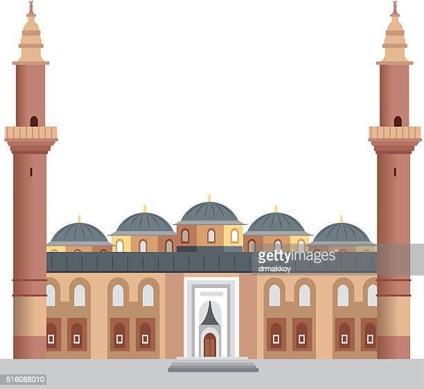 bursa grand mosque - grand mosque stock illustrations