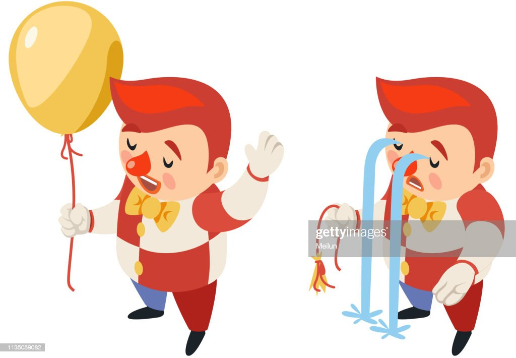 Burst balloon isometric circus party fun sad carnival river of tears clown funny cry blow up performance character icon isolated 3d flat design vector illustration