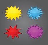 Bursting speech star set, starburst speech bubbles
