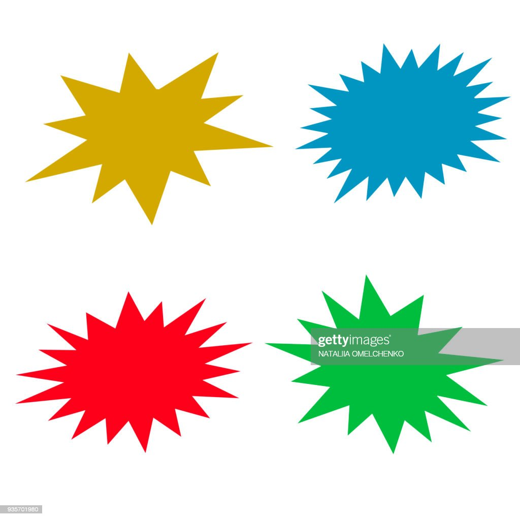 Bursting speech star set, vector illustration