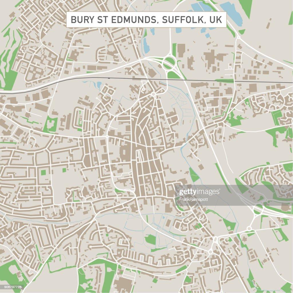 Bury St Edmunds Suffolk Uk City Street Map Vector Art Getty Images