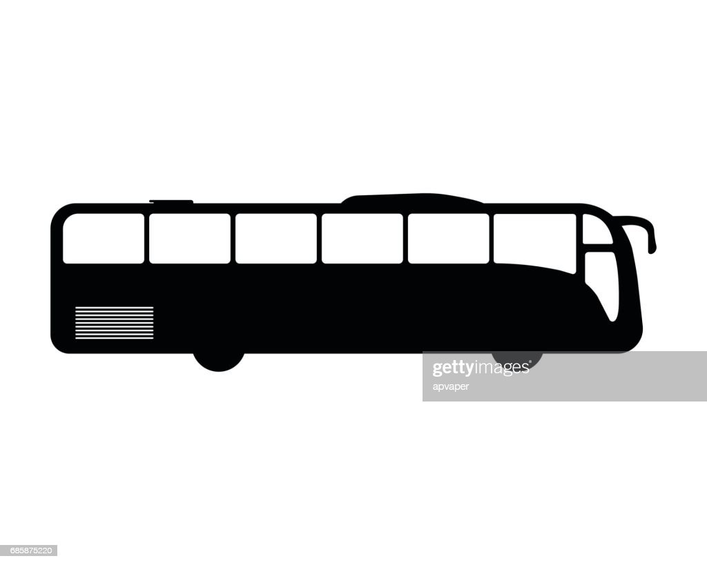 Bus flat icon and logo. Silhouette Vector illustration