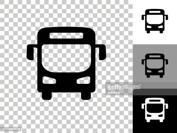 bus-symbol auf checkerboard transparenter hintergrund - bus stock-grafiken, -clipart, -cartoons und -symbole