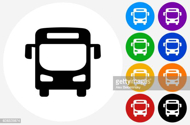 bus icon on flat color circle buttons - bus stock illustrations