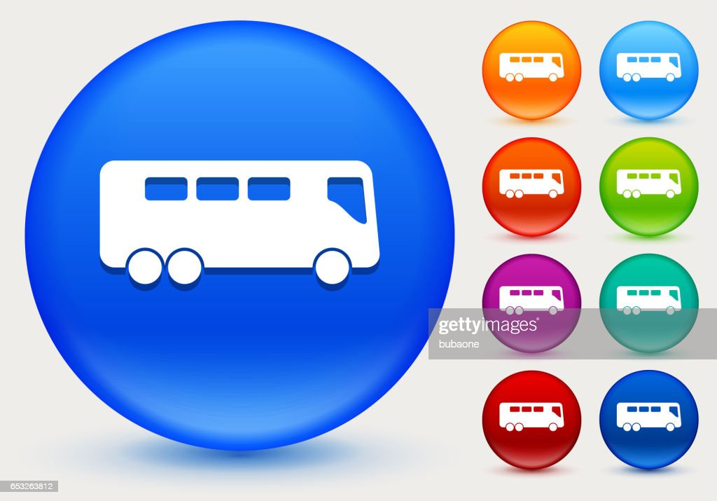Bus Icon on Shiny Color Circle Buttons : Vector Art