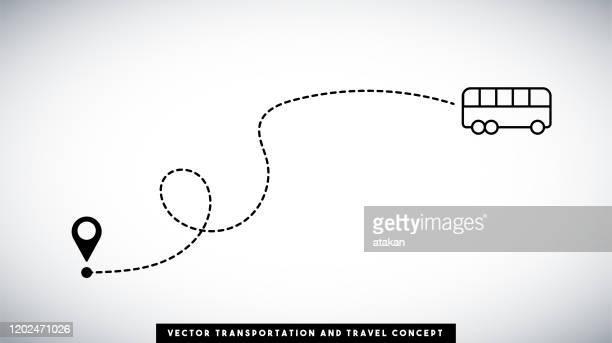buslinienpfadvektor-design. transport- und reisekonzept. - erforschung stock-grafiken, -clipart, -cartoons und -symbole