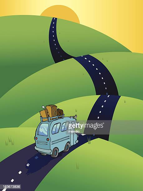bus on a road, heading to the horizon - long stock illustrations