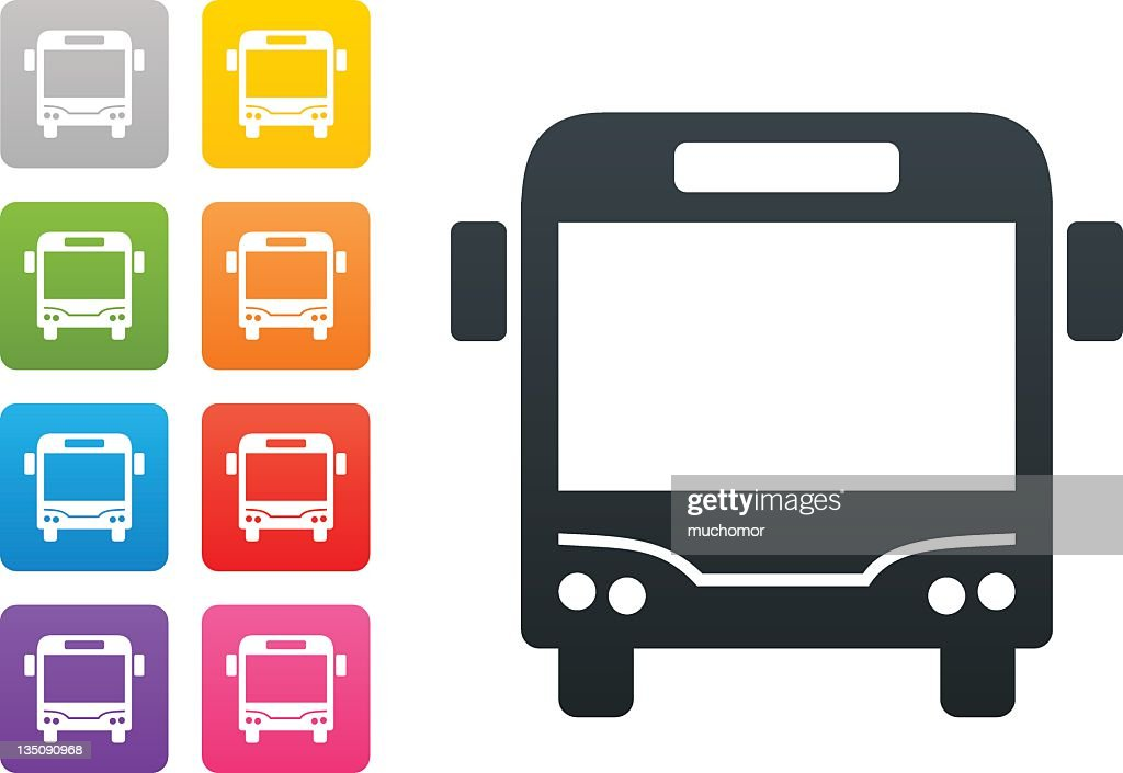 bus on coloured button - design elements