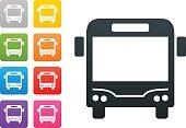 bus on coloured button - design elements