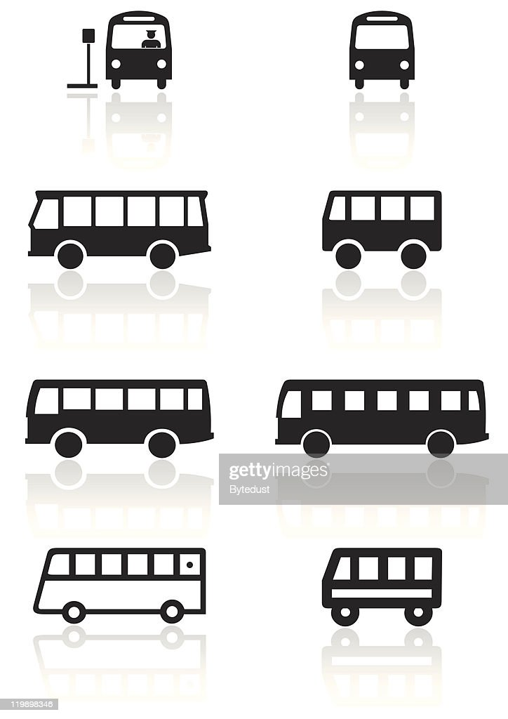 Bus or van symbol vector illustration set.
