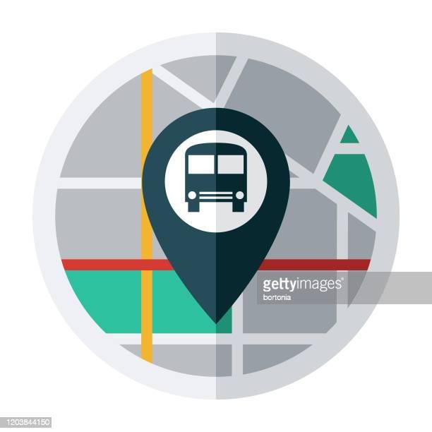 illustrations, cliparts, dessins animés et icônes de icône de goupille de carte d'itinéraire de bus - abribus